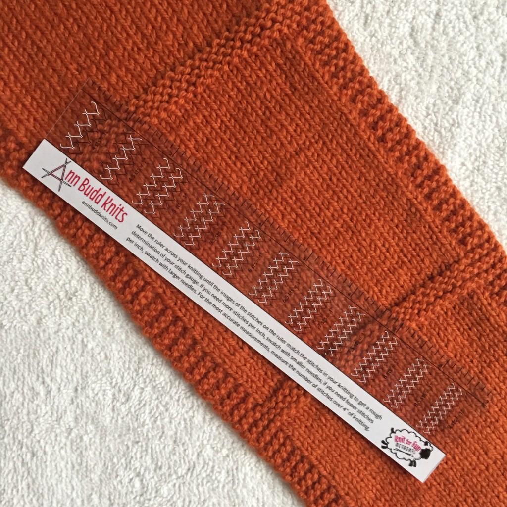 gauge ruler on knitting