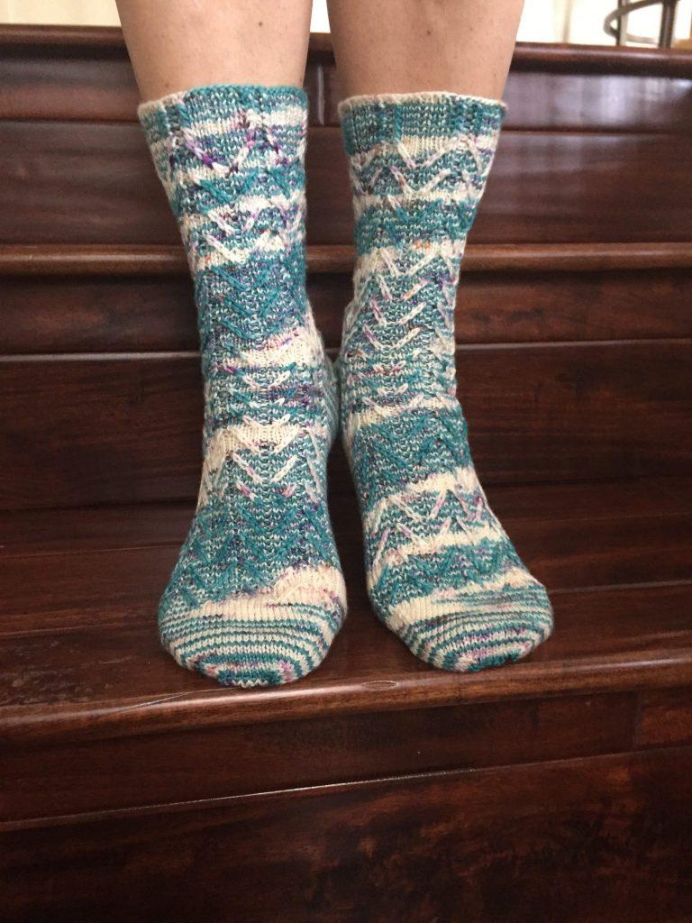 Slip-Stitch Chevron Socks